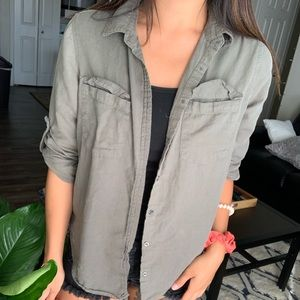 Olive green cotton on button up layer piece
